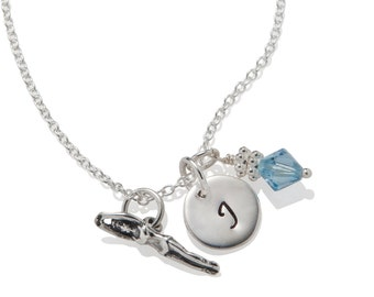 Swimmer Charm Necklace Personalized - Initial Necklace for Girls - ALL 925 Sterling Silver