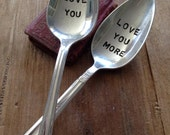 Vintage Silverware Silverplate Teaspoons Love You Love You More Set of Two