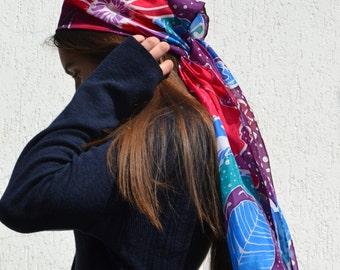 Floral batik scarf, jewel tones scarf, hand dyed silk scarf, boho scarf, head scarf