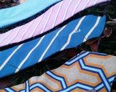 Class - Vintage 1970s mens tie necktie collection , striped, pattern, wide, checkered