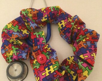 Stethoscope Cover, Nurse, Autism, Autism Awareness, Puzzle, Doctor, Med Tech, Therapist, Stethoscope Accessory, Nursing Student, CNA, Gift