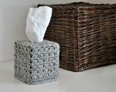 Grey Fleck Tissue Box Cover Neutral Home Decor Nursery Decoration Log Cabin Style Granny Chic