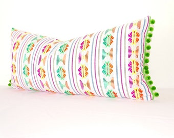 Mexican Embroidered Cushion 14x28, Tribal Pillow with green Pom Poms, Mexican Blanket Pillow, Lumbard Pillow, Pillowcase, Boho room Decor,