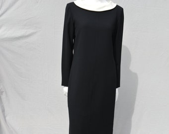 Vintage 80's YSL silk peter pan collar black formal classic dress Sz 40 Yves Saint Laurent LBD dress by thekaliman