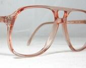 Vintage EyeGlasses 70s Double Bridge Aviator Frames. Peach
