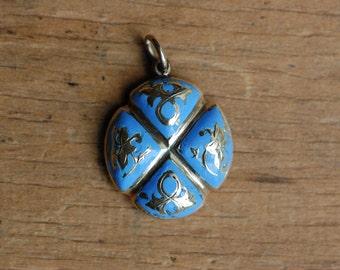 Antique Victorian blue enamel locket hidden compartment ∙ 1870s enamel locket