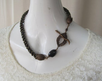 Kumihimo Beaded Braid Necklace with Focal Bead and Clasp