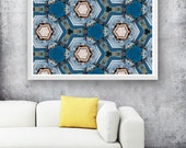 abstract geometric poster, blue kaleidoscope print, aqua large print, reclaimed wood art, blue geometric print, abstract industrial poster