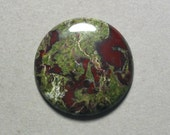 green red DRAGON BLOOD JASPER cabochon round 30mm disc designer cab