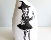 Plush Witch Pillow. Hand Woodblock Printed. Choose ANY colors. Made to Order.