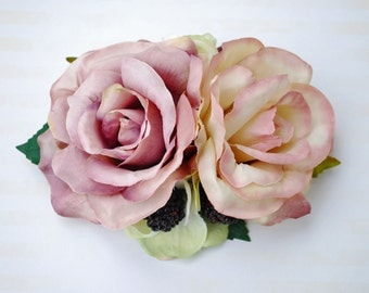 Unique double dusty pink roses with cream hydrangeas, berries and cherries vintage wedding bridal hairflower hair piece hair flower 50s