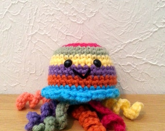 Rainbow Striped Jellyfish, Crochet Sea Creature Stuffed Animal, Office Decor, Crochet Nursery or Kids Decor