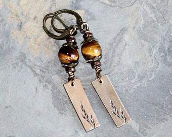 Botanical Earrings, Tiger Eye Earrings, Brown Earrings, Plant Earrings, Natural Stone Earrings, Wheat Earrings, Fall Earrings, Autumn