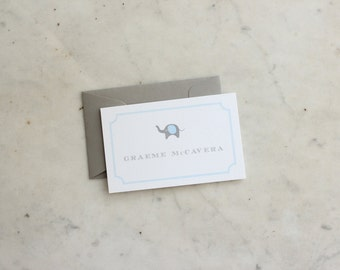 children's calling cards / gift enclosures - elephant (blue and grey, boy or brothers)