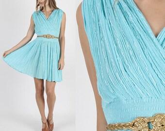 Boho Dress Grecian Dress Gauze Dress Hippie Dress Vintage 70s Ethnic Bohemian Dress Grecian Goddess Boho Hippie Festival Teal Mini S