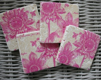 Pink Flower Coaster Set of 4 Tea Coffee Beer Coasters