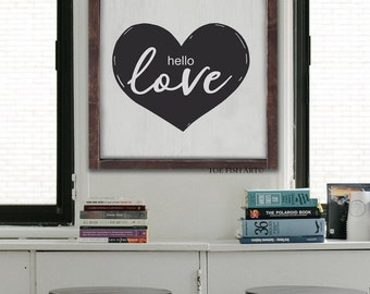 Hello Love Framed Wood Sign