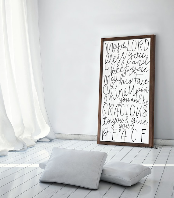 May the Lord Bless You and Keep You -Numbers 6:24-26 - Scripture Verse - Scripture Sign -   Typography Word Art Sign -  Wooden Framed sign