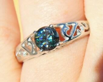 Moissanite Ring, Blue Engagement Ring, Alternative Engagement Ring, Alternative Diamond, Wedding Anniversary, Solitaire, celtic