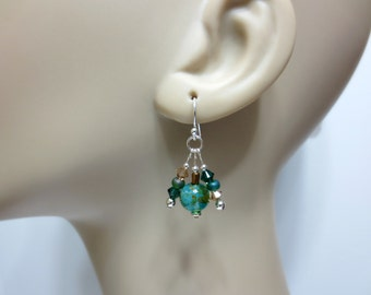 Crystal Dangle Earrings, Green/Blue/Topaz Glass Beads, Emerald Swarovski Crystals, Topaz Cluster Earrings, 100% Sterling Silver