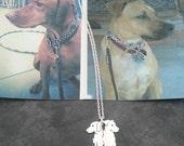 Custom 2 Pet Portrait TaGette Necklace .. Sterling Silver silhouette Jewelry Memoralize Keepsake