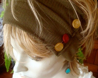 Womens Wide headband head wrap with buttons adult headband olive green soft
