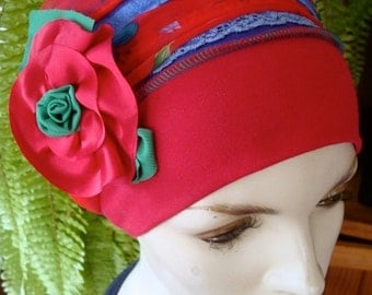 Womens Chemo Headwrap Headcover Chemo sinar Tichel head scarf snood mitpahat red purple blue