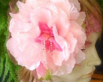 Wedding Headpiece pink flower Bridal Hairpiece  pink fascinator bridesmaid