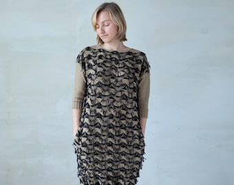 Fringed knit dress midi oversized fuzzy knit tunic with pockets - beige sand black fringe