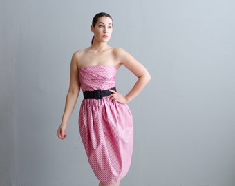 Vintage 1980s Party Dres - Strapless 80s Dress - Sticky Sweet Dress