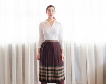 60s Wool Skirt - Vintage 1960s Pleated Skirt - Simple Folk Skirt