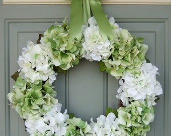 Summer Wreath - Spring Hydrangea Wreath - Summer Hydrangea Door Wreath