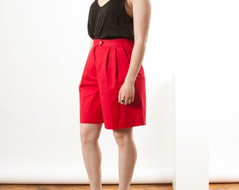 Red High Waisted Shorts / Pleated Retro Shorts / Vintage Comfy Shorts