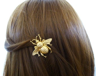 Bridesmaid Hair Clip Gold Bumble Bee Barrette Bumblebee Insect Garden Rustic Woodland Wedding Bridal Accessories Unique Womens Gift For Her
