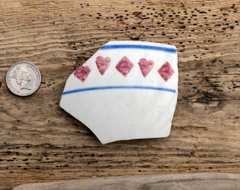 HEART & DIAMONDS - Card Suits - Large Sea Pottery Shard - Scottish Spongeware - Sea Pottery Shards (4502)