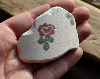 FLORAL SEA POTTERY - Scottish Spongeware -  Beach Pottery Pendant Supplies (4133)
