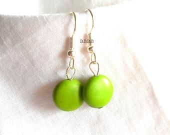 Green Earrings Magnesite Earrings Coin Earrings  Drop Earrings Bright Silver Earrings