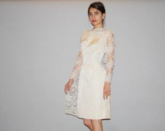 1960s Vintage Illusion Lace Sleeve Short Wiggle Wedding  Dress with Lace Cape - Short Ivory Lace Dress -  Lace Wedding Dress -   WD0863