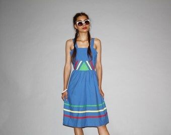1980s Graphic Rainbow Blue Summer Cotton Day  Dress   - 80s Sundress Dress - WD0890