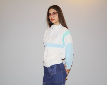 1980s Vintage Rare Nike Gym Classic White and Pastel Blue Sweatshirt Jacket - Vintage Sweatshirt Jacket  - 80s Nike Hoodies  - WO0703