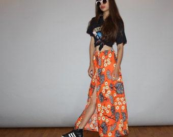 Vintage 1960s Graphic Orange Novelty Asian Fans Hippie Long Festival Maxi Skirt  - Vintage Maxi Skirts - Vintage Long Skirt  - WB0465
