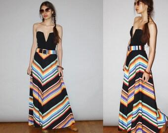 Vintage 1960s Graphic Chevron Black Hippie Rainbow Boho  Festival Maxi Skirt  - Vintage Maxi Skirts -  Long Skirt  - WB0408