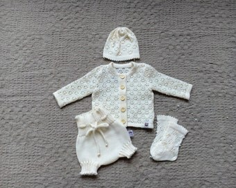 Baby Baptism clothes New baby comming home outfit 4 piece set includes off white ivory knit cardigan hat  bloomers lace socks Baby shower