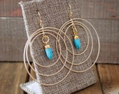 Turquoise Spike Triple Hoop Dangle Earrings/ Gold Turquoise Spike Charm/ Blue Natural Gemstone Chandelier Hoop (ECD22)