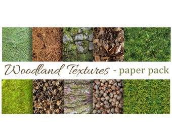 WOODLAND TEXTURES Paper Pack- Digital Papers - Moss,Pine Needles, Pinecones, Acorns, Bark, Leaves ,Printable Download -paper crafts