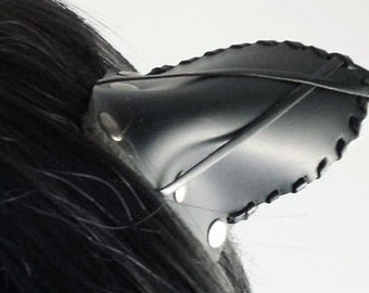 Easy Clip In Cat Ears *Neko Ears* in Black Leather with white sheeps fur ear tuff, leather stitching and cross accent