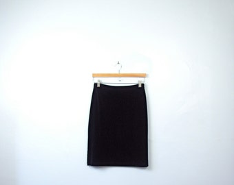 Vintage 90's velvet skirt, black velvet skirt, black pencil skirt, 90s skirt, size medium / small