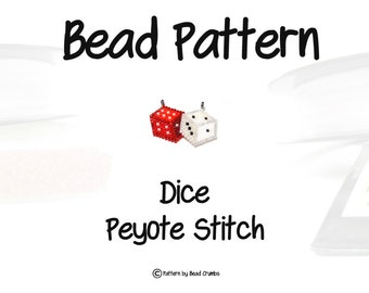 Dice Bead Pattern - Red & White, Peyote Stitch Bead Weaving | DIGITAL DOWNLOAD