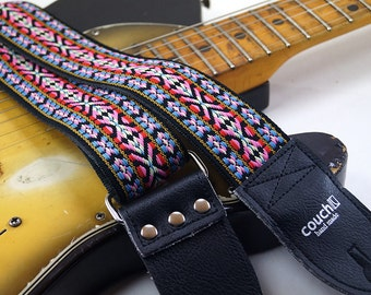 Vintage Woven Hippie Guitar Strap, Made Of Vintage Deadstock Webbing, Multi Colored