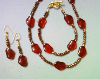 Red and Bronze Necklace, Bracelet and Earrings (0475)